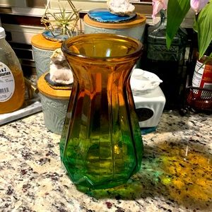 💚🧡 Orange and green ombre glass vase